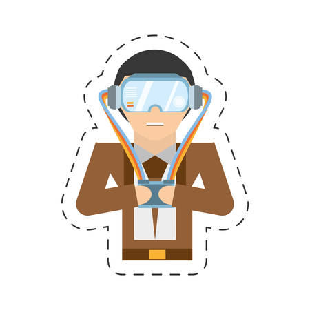 cartoon man with vr goggles control vector illustration Illustration