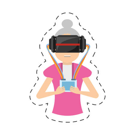 cartoon girl with vr headset control vector illustration eps 10
