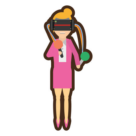 woman with virtual reality glasses simulation vector illustration eps 10