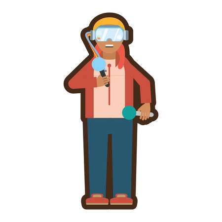 man with reality virtual headset vector illustration eps 10