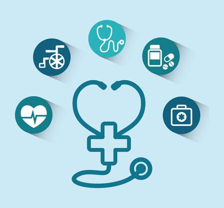 stethoscope cross medical equipment vector illustration eps 10