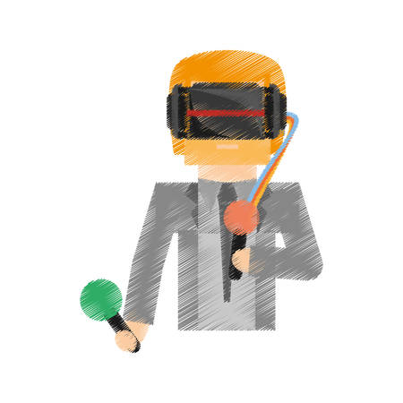 drawing man wearing vr goggles control