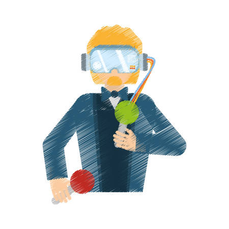 drawing man wearing vr goggles control vector illustration eps 10