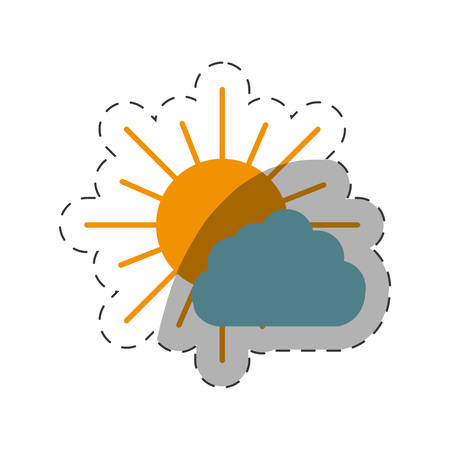 overcast: sun and cloud weather vector illustration eps 10
