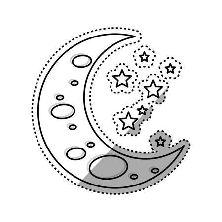 Sleeping moon cartoon icon vector illustration graphic design