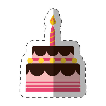 birthday cake sweet candle vector illustration eps 10 Illustration