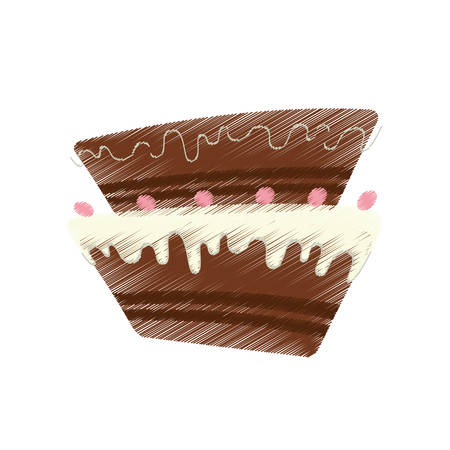 drawing cake pastry sweet cherry vector illustration eps 10 Illustration