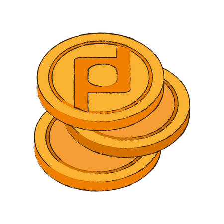 quark: protoshare coin cryptocurrency stack icon vector illustration eps 10 Illustration