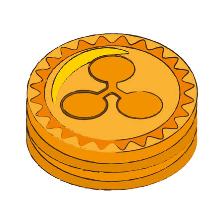 quark: ripple coin cryptocurrency stack icon vector illustration eps 10