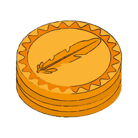 quark: feathercoin cryptocurrency stack icon vector illustration eps 10