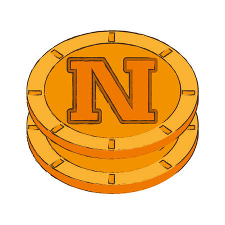 quark: novacoin cryptocurrency stack icon vector illustration eps 10 Illustration