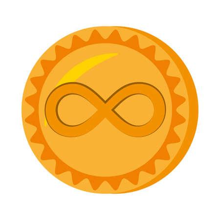 antiquities: infinitecoin money golden icon vector illustration eps 10 Stock Photo