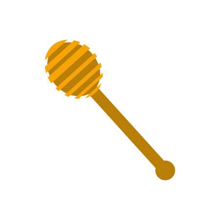 dipper: Wooden honey dipper icon vector illustration graphic design