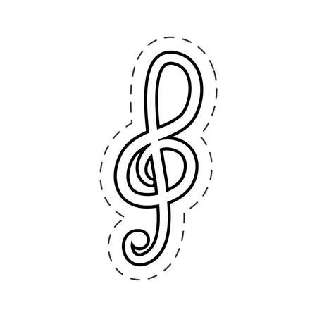 treble clef music cut line vector Illustration