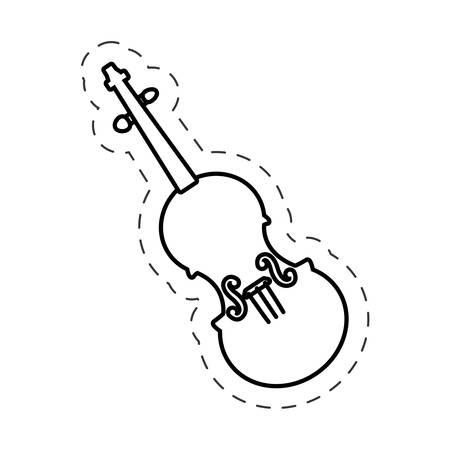 conservatory: fiddle instrument music cut line vector Illustration