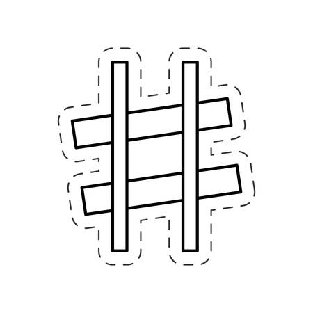 slur: sharp music note cut line vector Illustration