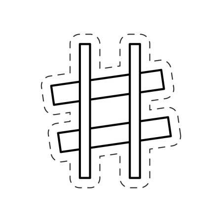 sharp music note cut line vector Illustration