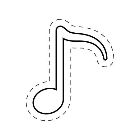 music note melody cut line vector