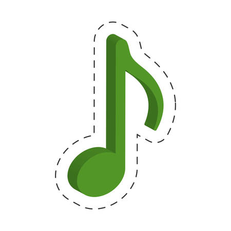 green music note cut line vector