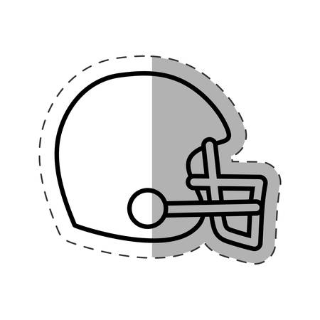 gripping: helmet american football cut line vector illustration Illustration
