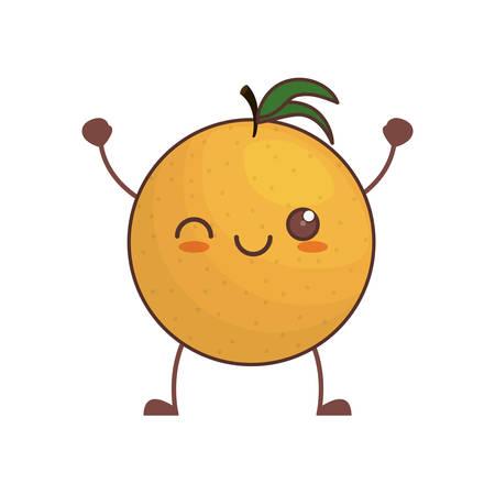kawaii orange fruit image vector illustration eps 10