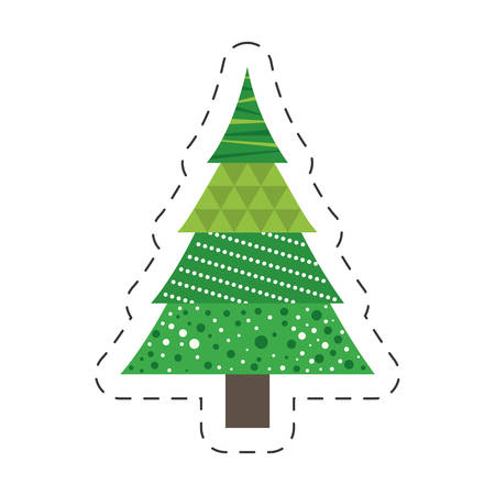green tree pine christmas line vector illustration eps 10