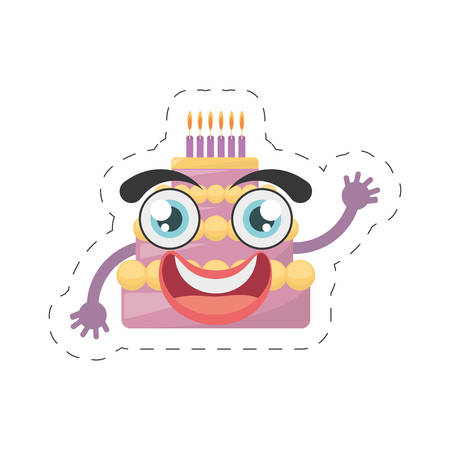 dessert buffet: cartoon sweet cake birthday cut line vector illustration Illustration