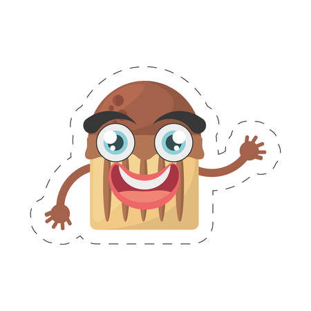 cartoon cupcake dessert birthday cut line vector illustration eps 10