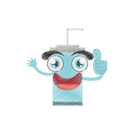 drawing plastic cup soda straw vector illustration eps 10