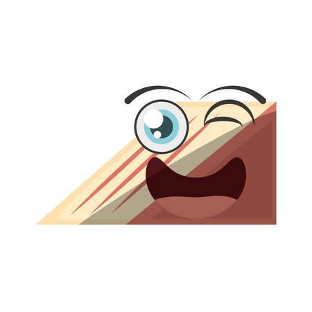 cartoon slice cake sweet wink vector illustration eps 10