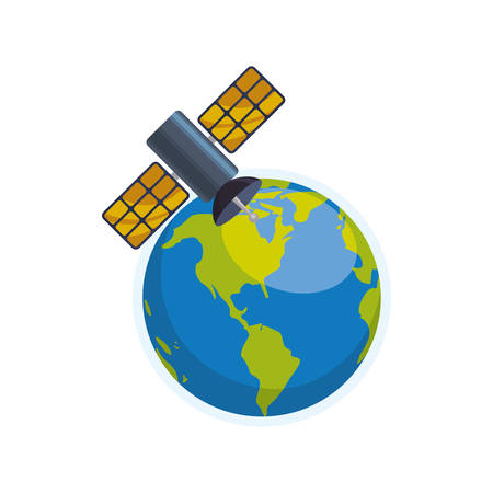 world receiver: Satellite communication technology icon vector illustration graphic design Illustration