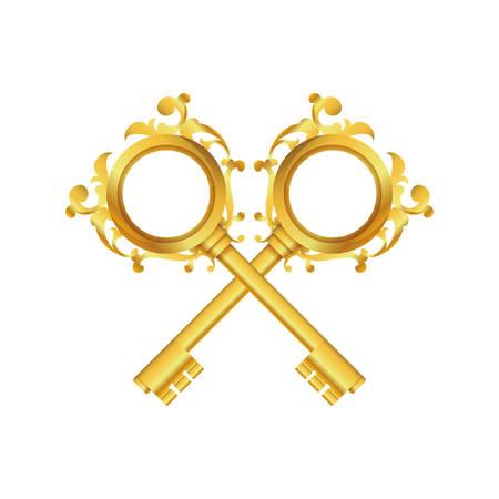 Vintage luxury keys icon vector illustration graphic design Illustration