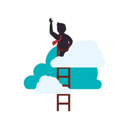 Businessman climbing to success icon vector illustration graphic design