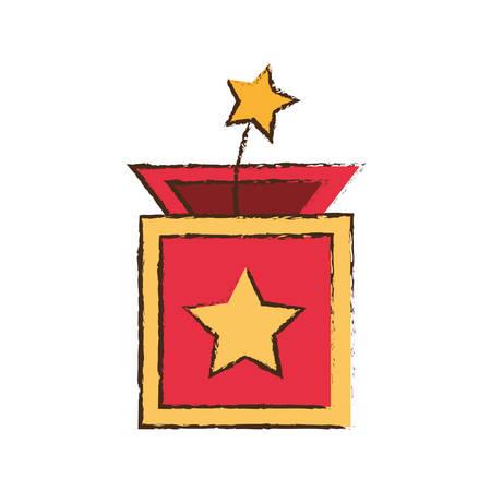 surprise box star april fools image vector illustration eps 10 Illustration