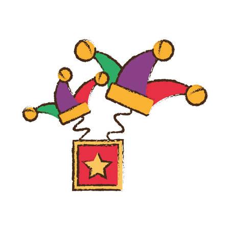 idiot box: surprise box hat jester april fools image vector illustration eps 10
