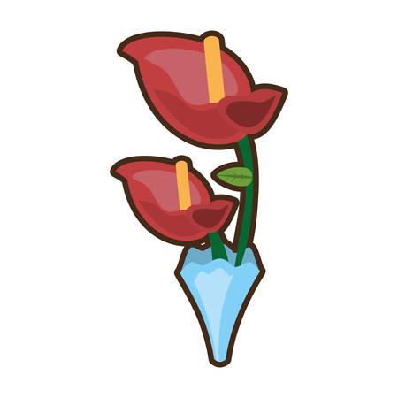 bouquet anthurium flower ornament image vector illustration eps 10 Illustration