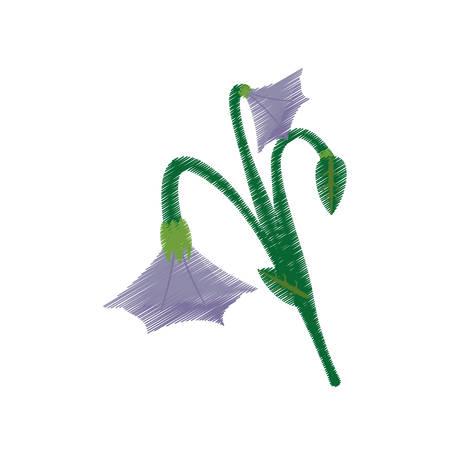 drawing blue bell flower ornament vector illustration eps 10