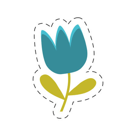 blue tulip flower spring cut line vector illustration eps 10