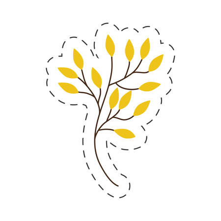 branch yellow leaves cut line vector illustraiton eps 10