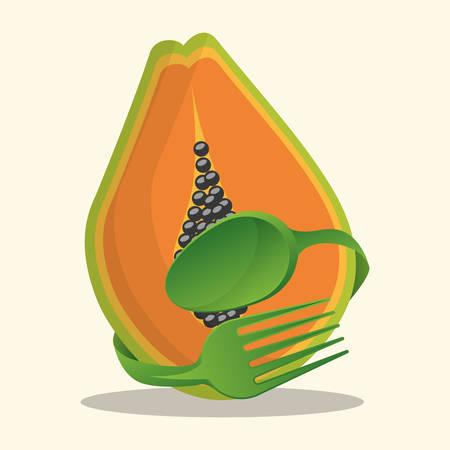 papaya vegan food fresh vector illustration eps 10 Illustration