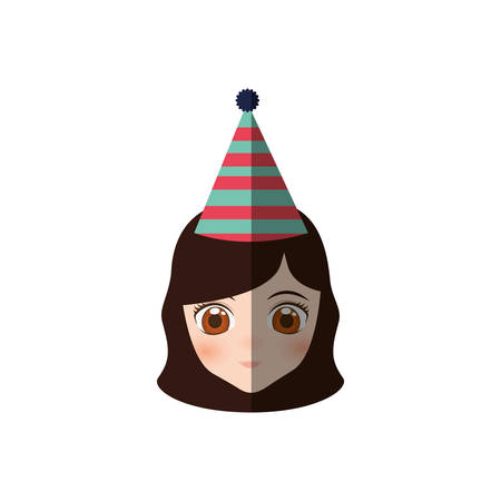 portrait girl anime with party hat vector illustration eps 10