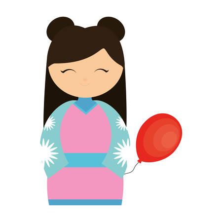 ful: girl japanese comic balloon decoration vector illustration eps 10 Illustration