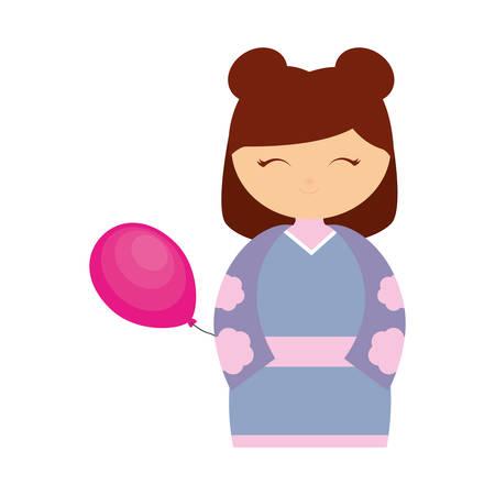 asian family fun: girl japanese comic balloon decoration vector illustration eps 10 Illustration