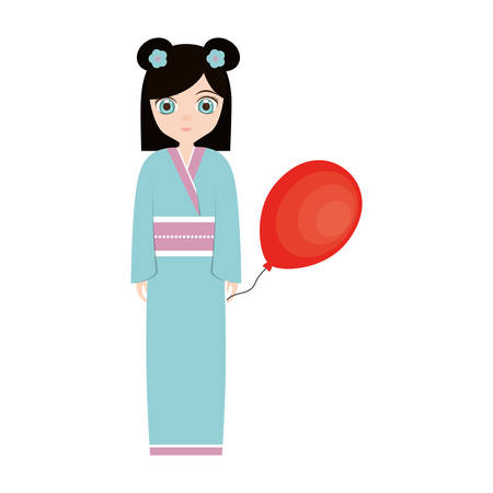 asian family: girl japanese comic balloon decoration vector illustration eps 10 Illustration