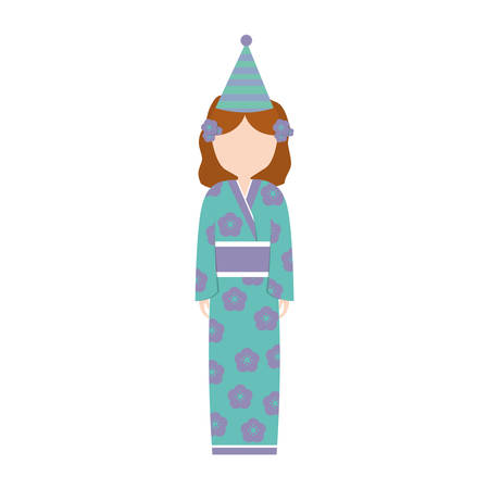 kokeshi: anime girl kimono hat party vector illustration eps 10 Illustration