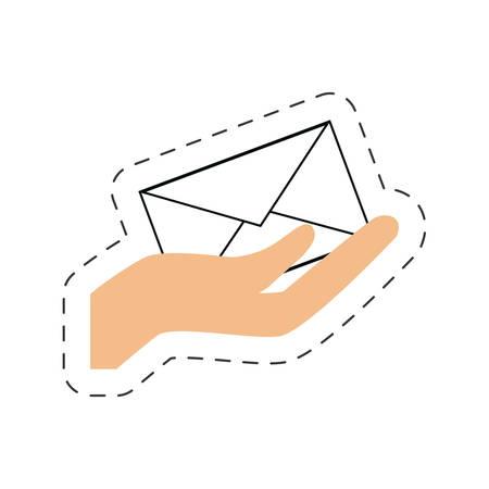 hand holding email envelope online letter vector illustration eps 10 Illustration
