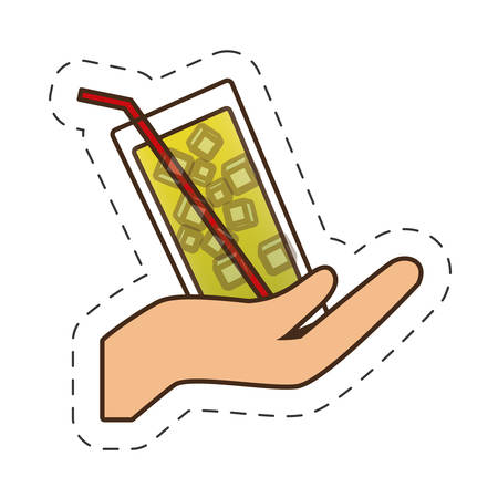 event party: hand holding glass cup cocktail drink vector illustration eps 10 Illustration