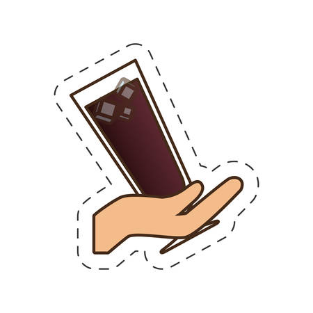 scotch: hand holding glass cup cocktail drink vector illustration eps 10 Illustration
