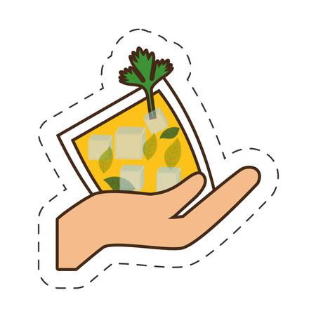 hand holding glass cup cocktail drink vector illustration eps 10 Illustration