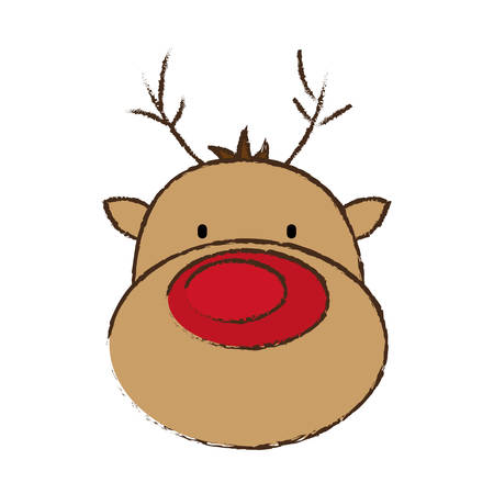 face reindeer merry christmas image vector illustration eps 10